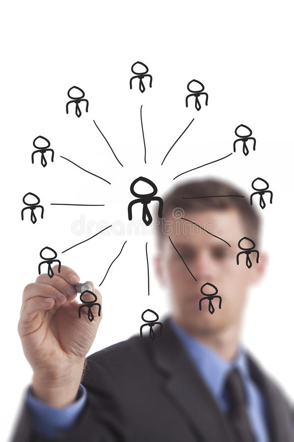 Business Man Drawing Networking Group stock image