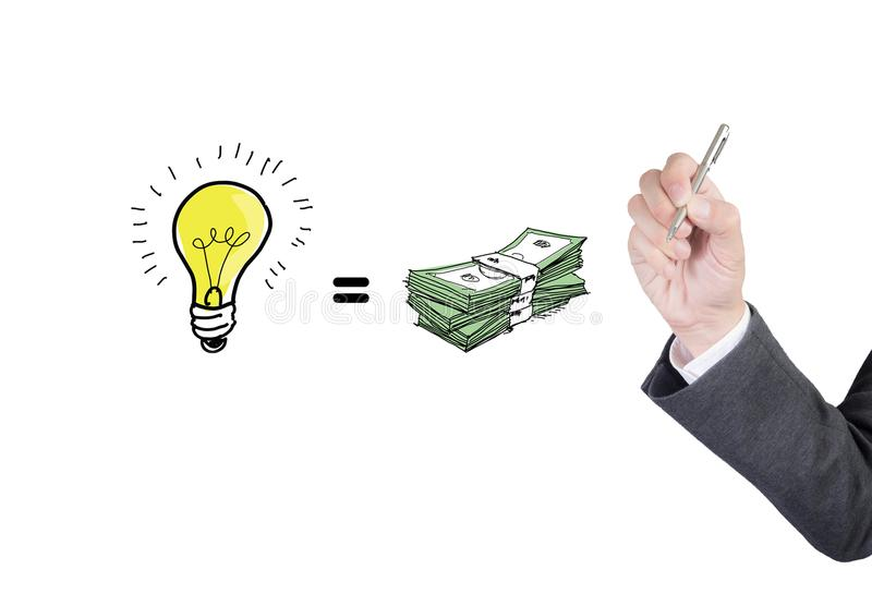 Business man drawing business strategy plan in light bulb, sketch and human hand with pencil stock photo