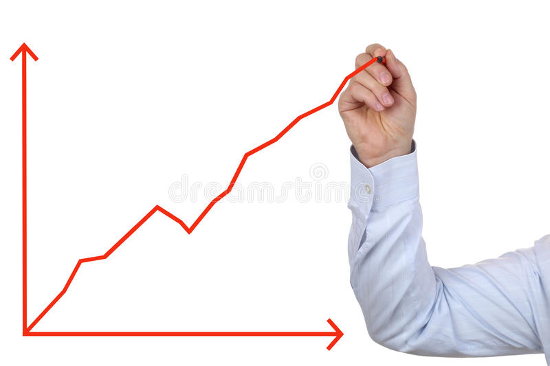 Business man drawing a success growth chart stock images