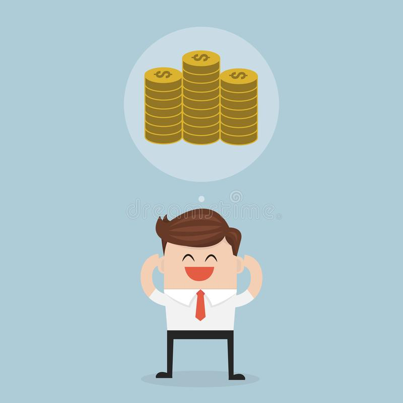 Business man dreaming about money. Business man dreaming about money, vector illustion flat design style stock illustration