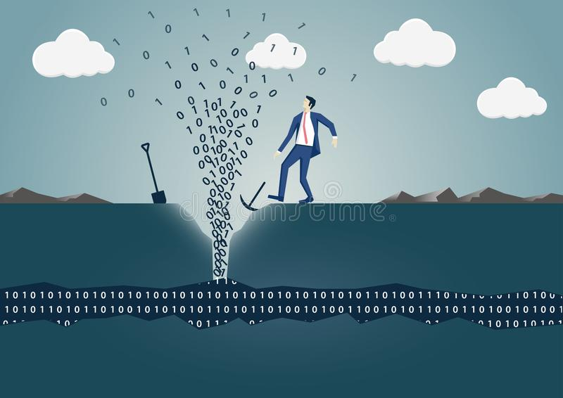 Business man drilling hole to find spring of information. vector illustration