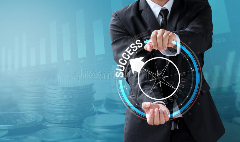 Business man drive compass to success royalty free stock photos