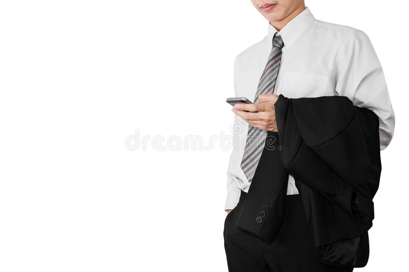 Business man employee in white t-shirt relaxing using smartphone,and holding black suit on his arm, isolated on white background stock images