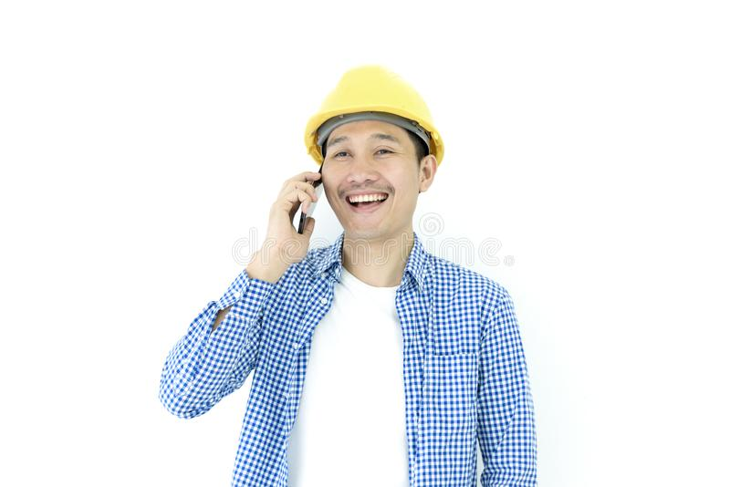Business man engineer employee with blue scott shirt isolated has talking for working and planning by phone on white background stock photography