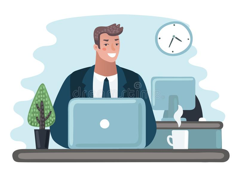 Business man entrepreneur in a suit working on a laptop computer at his clean and sleek office desk. stock illustration