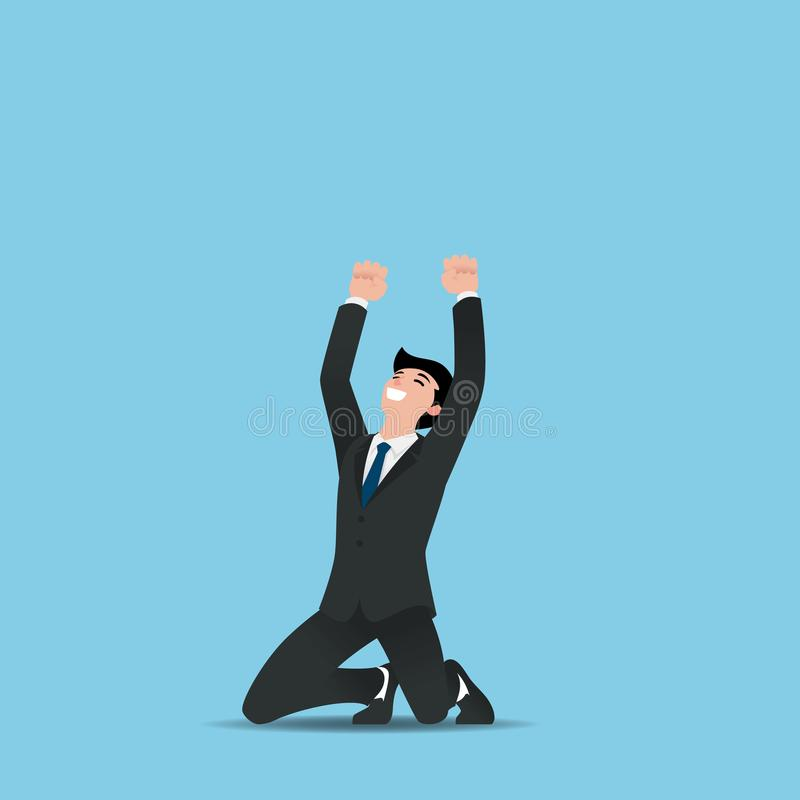 Business man executives celebrate his successful, raising hands with clenched fists up over heads while kneeing. Vector illustration flat design vector illustration