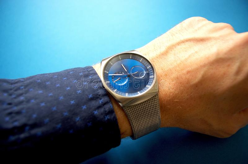 Business man with expensive hand watches, success and business concept, time management stock photo