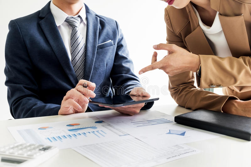 business man financial inspector and secretary making report, ca stock photography