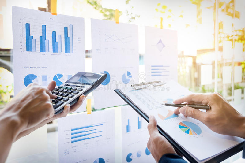 business man financial inspector and secretary making report, ca royalty free stock image