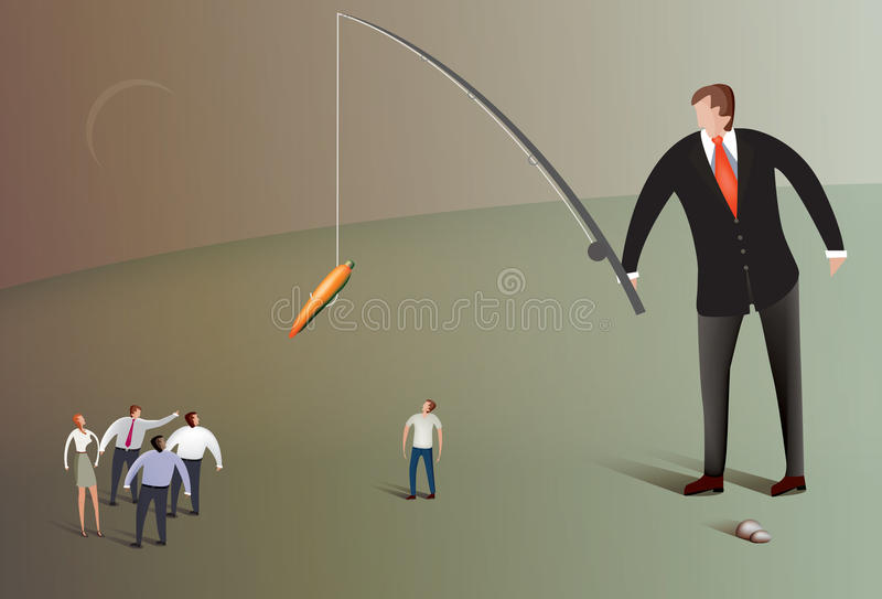 Business man fishing with carrot royalty free illustration
