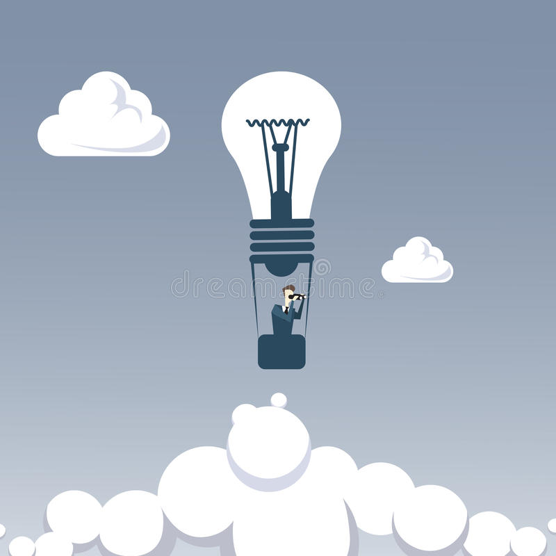 Business Man Fly On Light Air Balloon Hold Binocular Looking For Successful Future Concept stock illustration