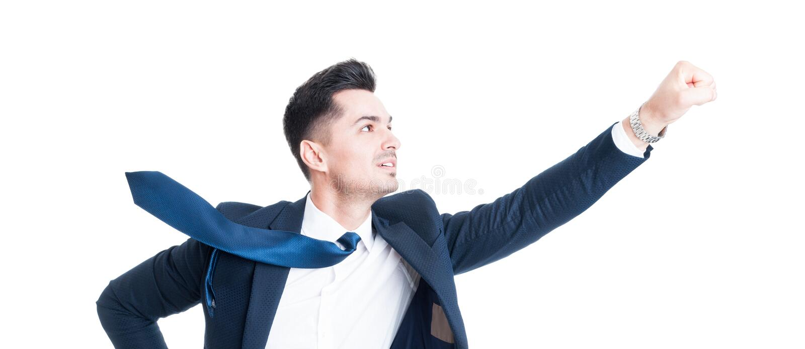 Business man flying gesture with necktie blowing stock images