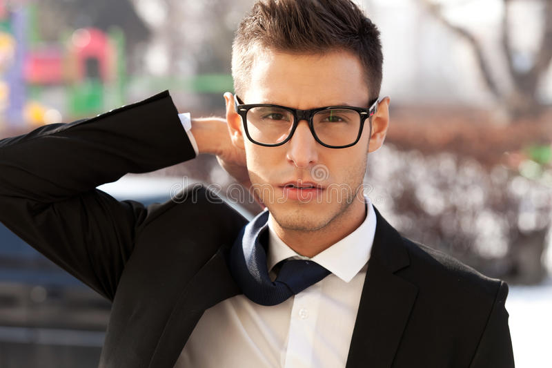 Business man with a flying tie stock images