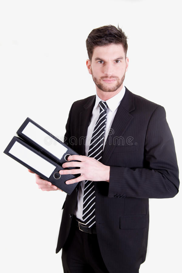 Business man with folders stock image