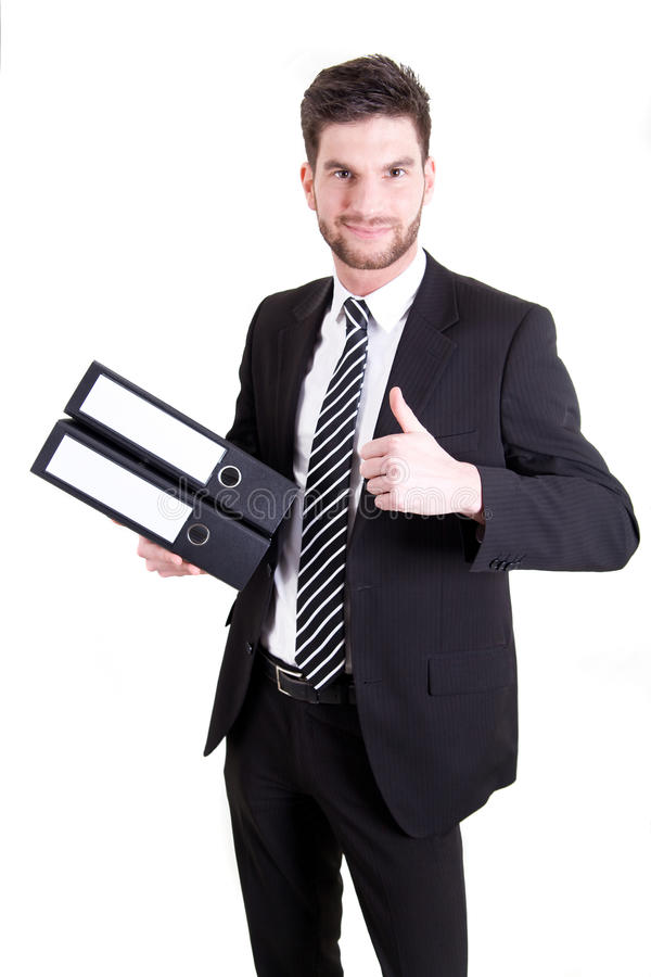 Business man with folders royalty free stock photo