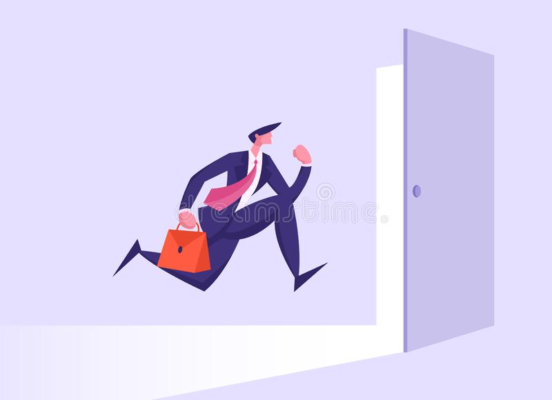 Business Man in Formal Suit with Briefcase Running into Open Door Entrée, Businessman New Opportunity, Way illustration stock