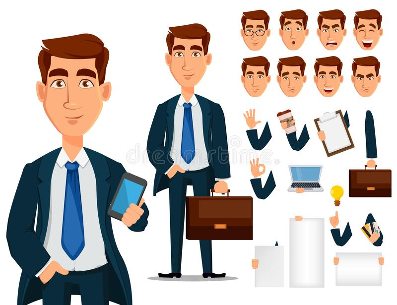 Business man in formal suit, cartoon character creation set. royalty free illustration