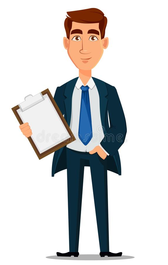 Business man in formal suit holding clipboard, cartoon character. Young handsome smiling businessman in office style clothes. Vector illustration royalty free illustration