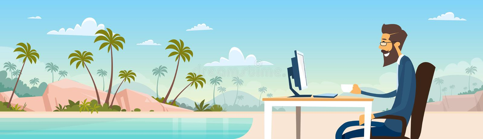 Business Man Freelance Remote Working Place Businessman In Suit Sit Desktop Beach Summer Vacation Tropical Island. Flat Vector Illustration vector illustration