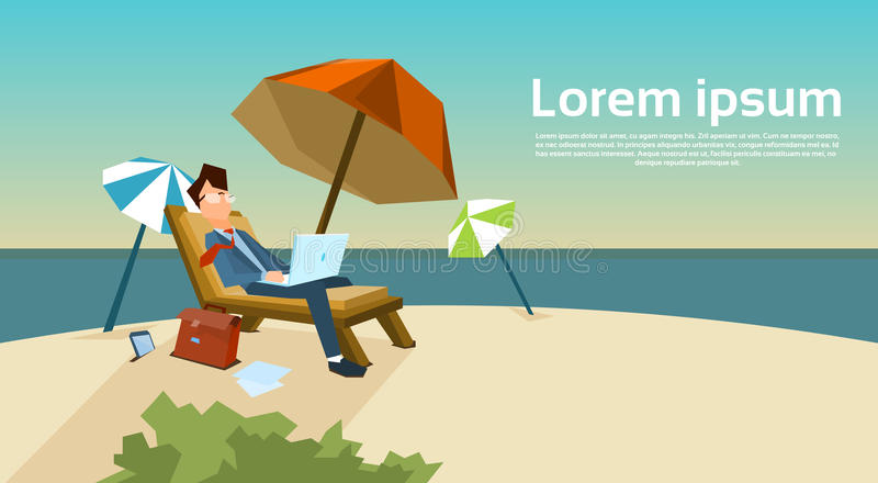 Business Man Freelance Remote Working Place On Sunbed Businessman. In Suit Using Laptop Beach Summer Vacation Tropical Island Flat Vector Illustration vector illustration