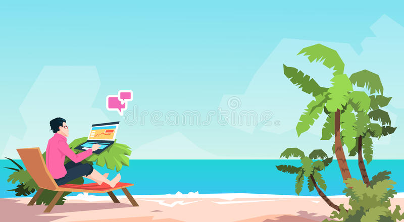 Business Man Freelance Remote Working Place On Sunbed Businessman Using Laptop Beach Summer Vacation Tropical Island. Flat Vector Illustration royalty free illustration