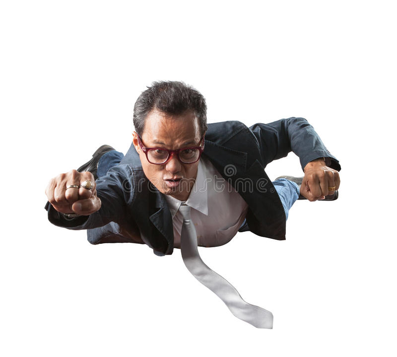 Business man with funny face flying isolated white background royalty free stock photo