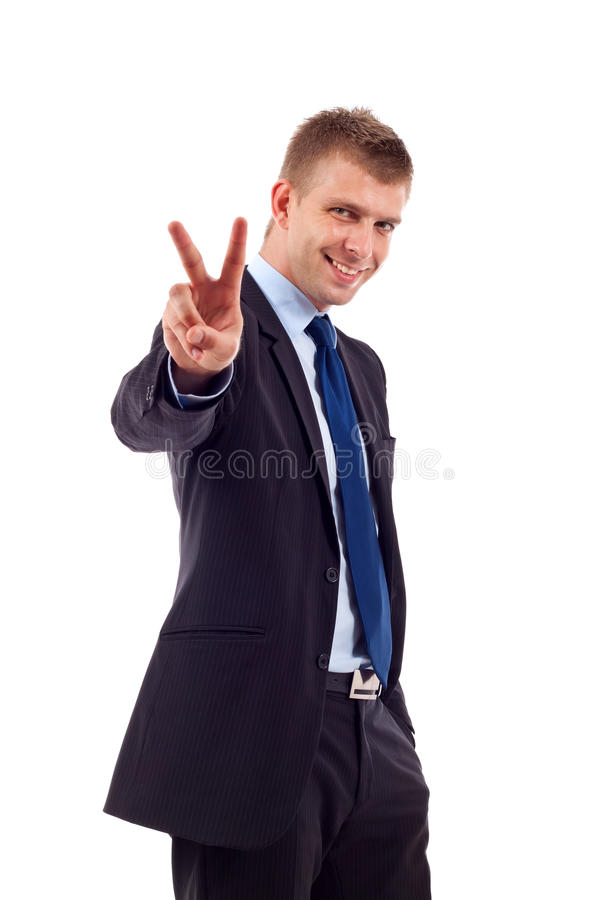 Download Business Man Gesturing Victory Stock Image - Image: 14808871