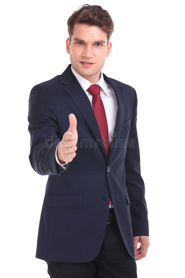 Business man getting ready for a handshake. stock photography