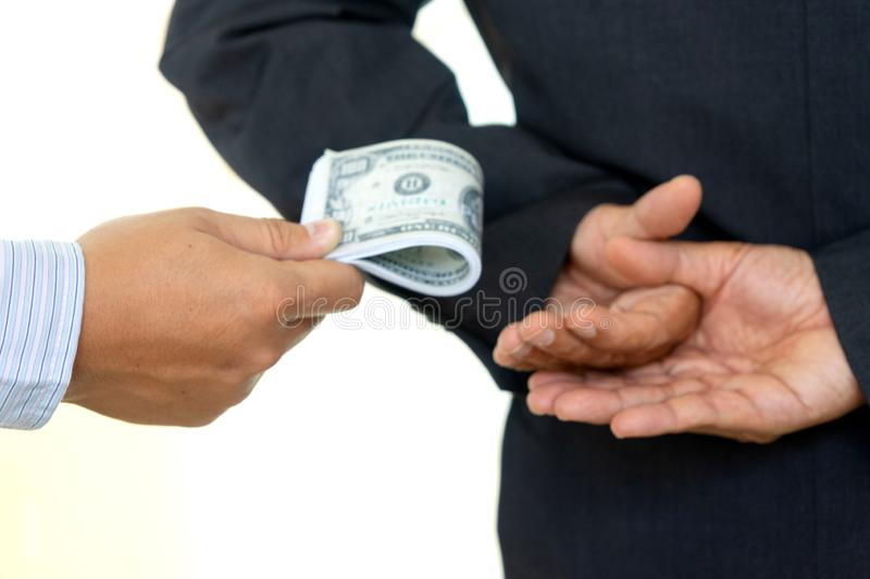 Business man give bribe stock photos