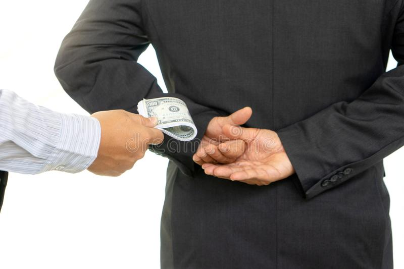 Business man give bribe royalty free stock photo