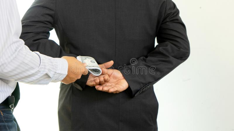Business man give bribe stock image