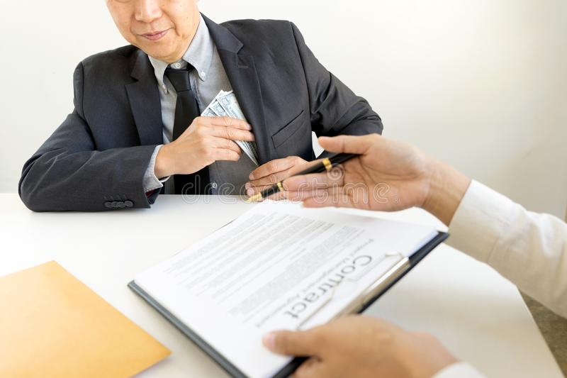 Business man give bribe to the officer royalty free stock images