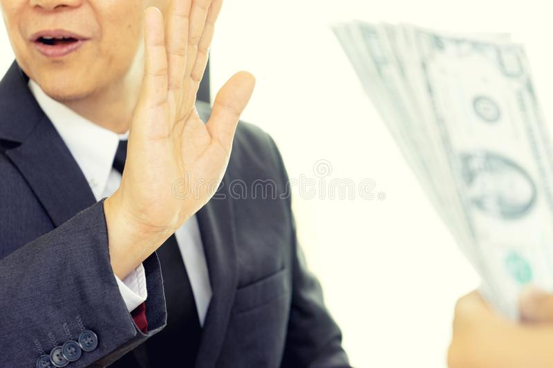 Business man give bribe to the officer but officer say no stock images