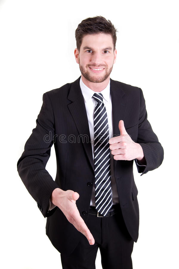 Business man giving a handshake royalty free stock images