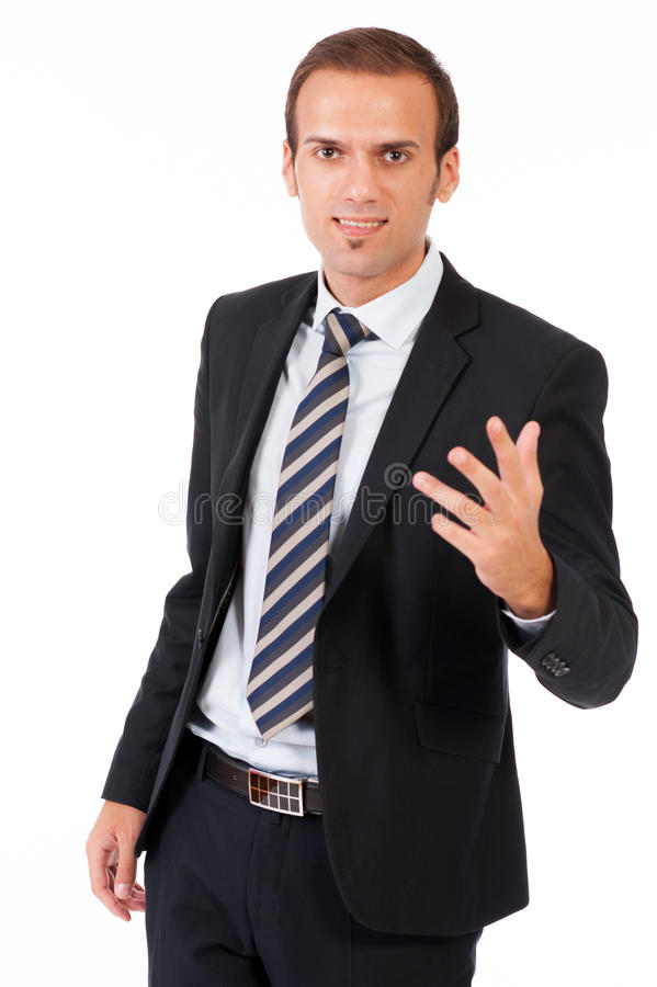 Business man giving presentation royalty free stock photos