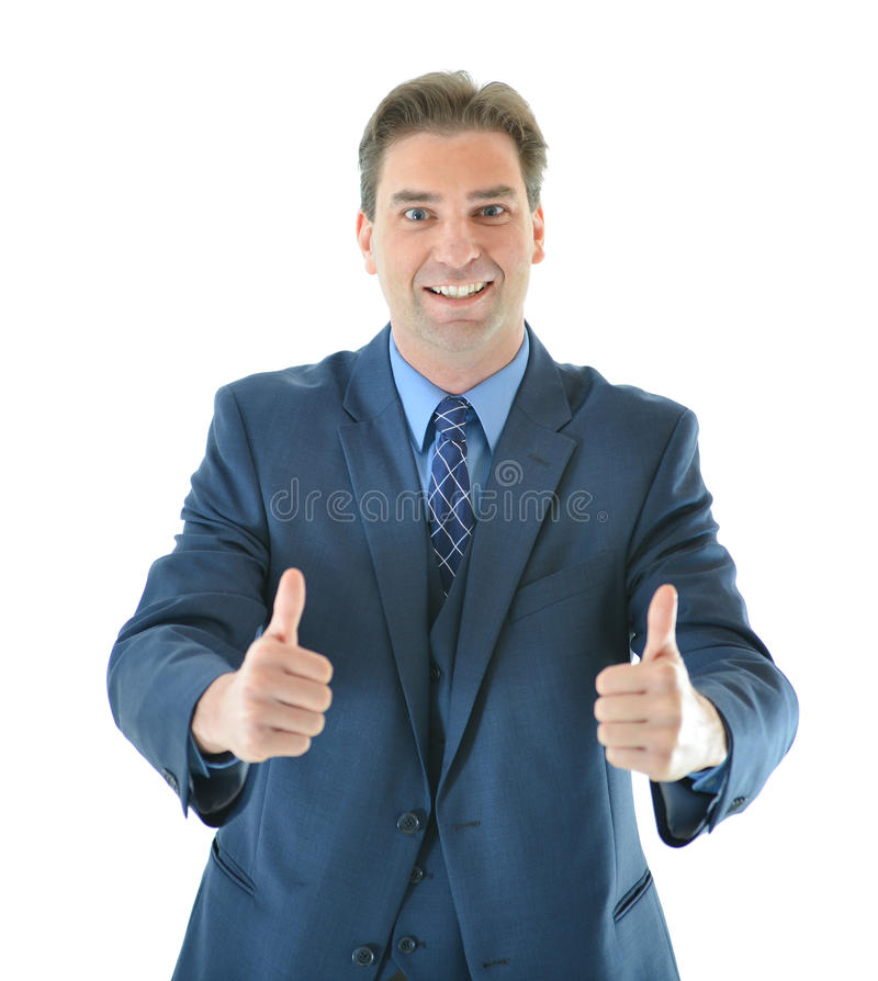 Download Business Man Giving Two Big Thumbs Up Stock Photo - Image of over, looking: 83717654