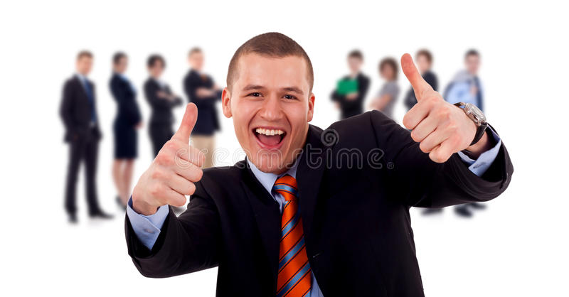 Download Business Man Givinng Thumbs Up For His Team Stock Photography - Image: 18411752