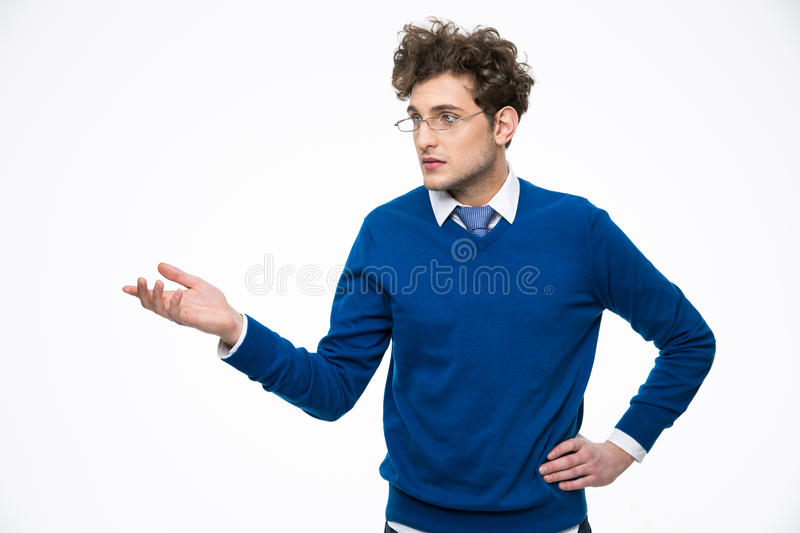 Business man in glasses presenting something stock photos