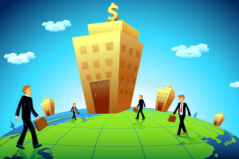 Business man going to Bank stock illustration