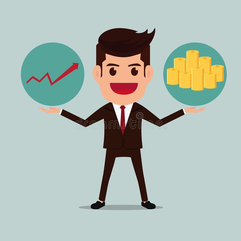 Business man with graph and money stacks. Cartoon Vector Illustration royalty free illustration