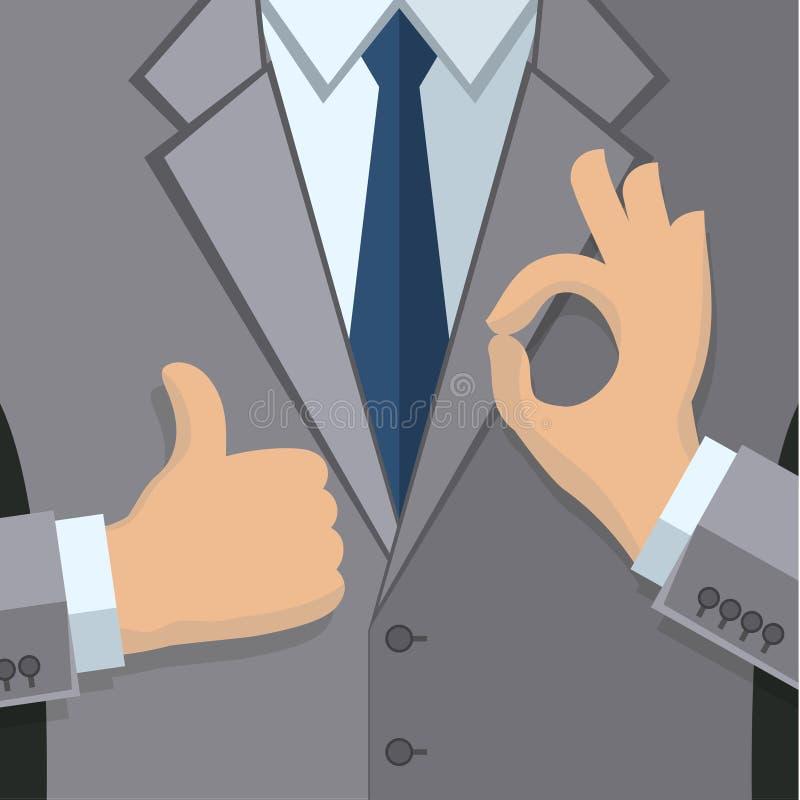 Business man in gray vector illustration