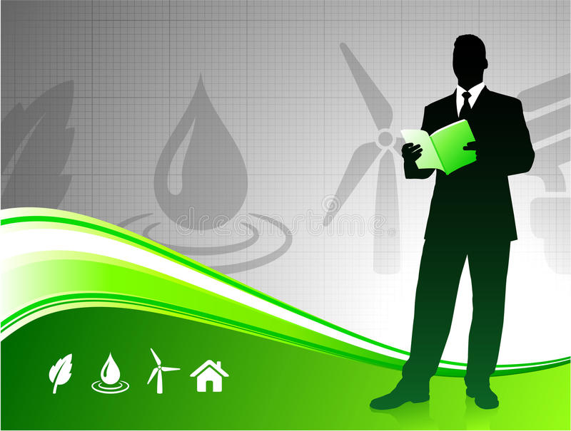 Business man on green environment background vector illustration