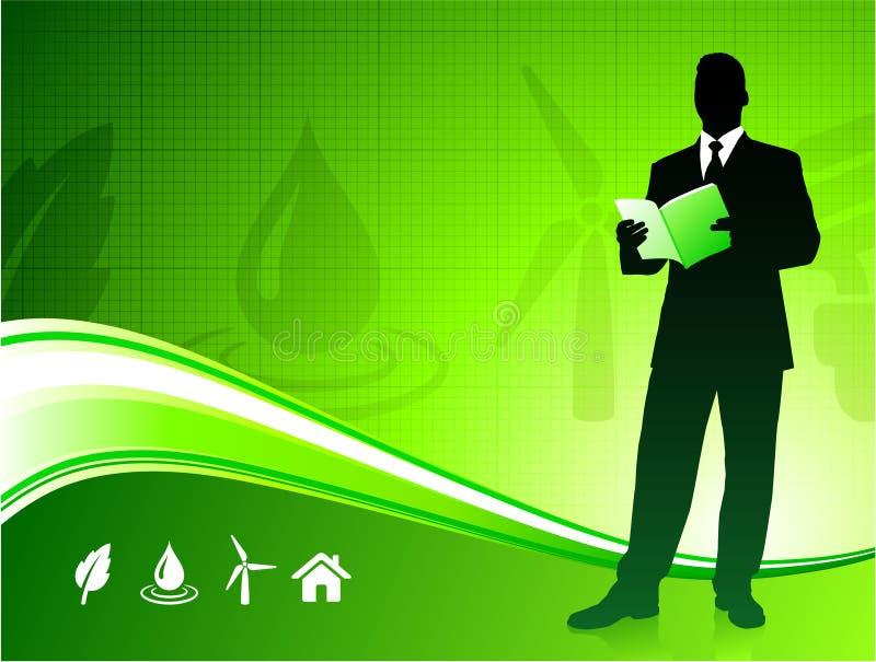 Business man on green environment background stock illustration