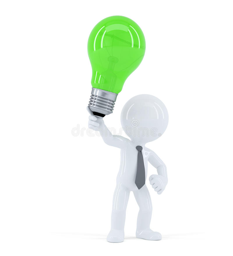 Business man with green light bulb. Concept of creative business idea. On white background stock illustration