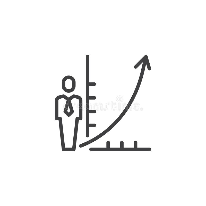Business man and growing graph line icon stock illustration