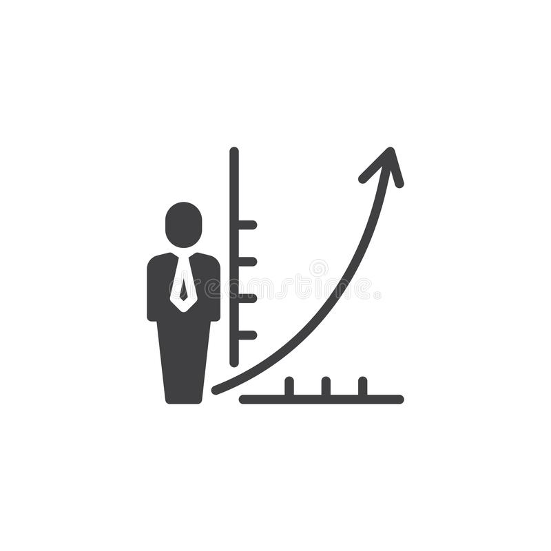Business man and growing graph vector icon vector illustration