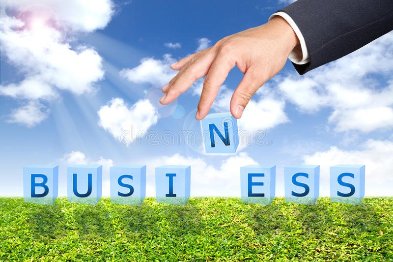 Business man hand business word buttons royalty free stock photo