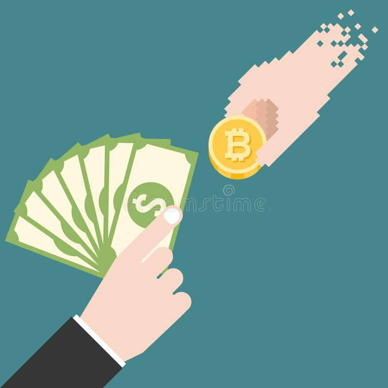Business man hand with dollars bank exchange money with digital hand holding bitcoin royalty free illustration