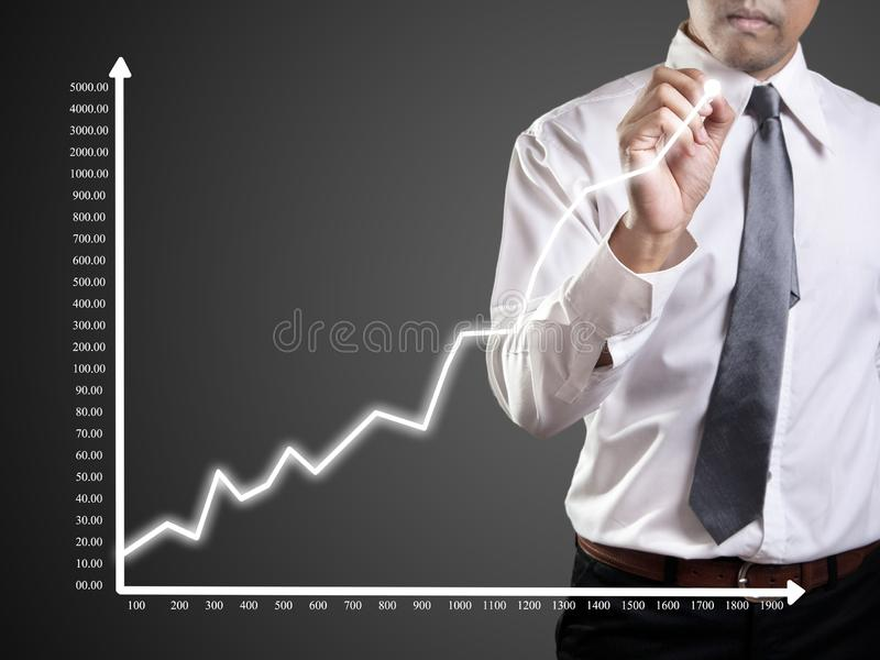 Business man hand drawing a graph. Shares, market, leadership, , forecasting, copy, white, achievement, sketching, future, consultant, blank, whiteboard, line stock image