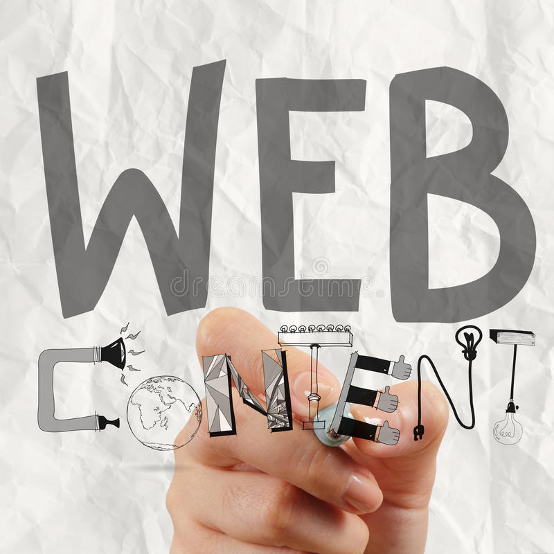 Business man hand drawing web content stock photography